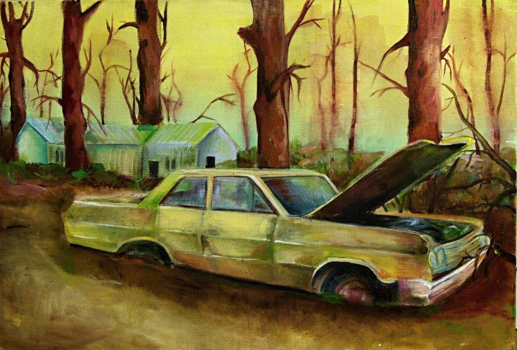 Abandoned II, akrylová malba na plátně, 50x70 cm.