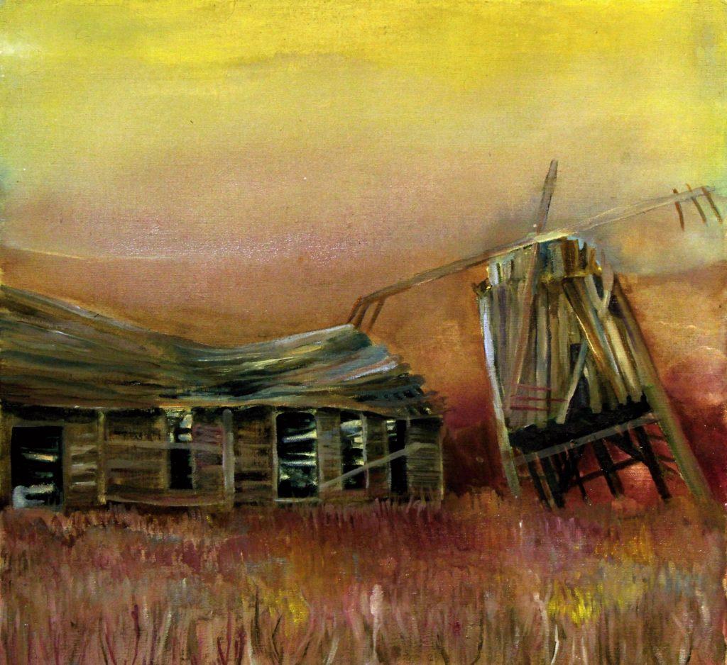 Abandoned, akrylová malba na plátně, 60x60 cm.