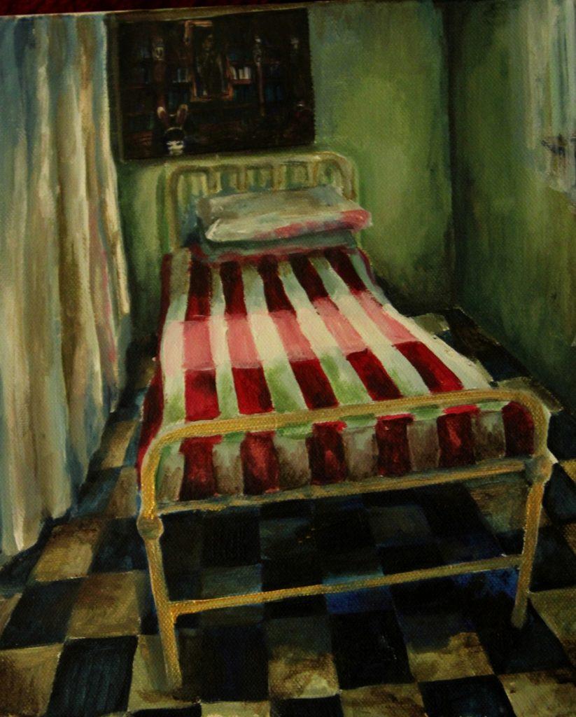 Hospital I, akrylová malba na plátně, 24x30 cm.